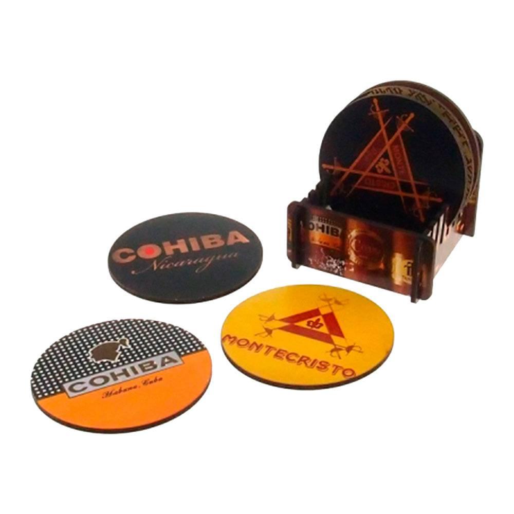 Porta-Copos Logos Redondos - 6 Peças - em MDF - com Suporte - 9x9 cm