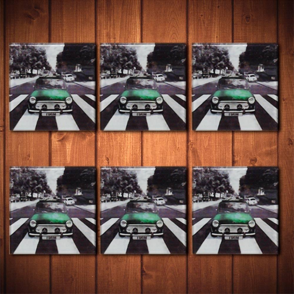 Porta-Copos Mini Cooper Verde - 6 Peças - em Vidro - 8,5x8,5 cm