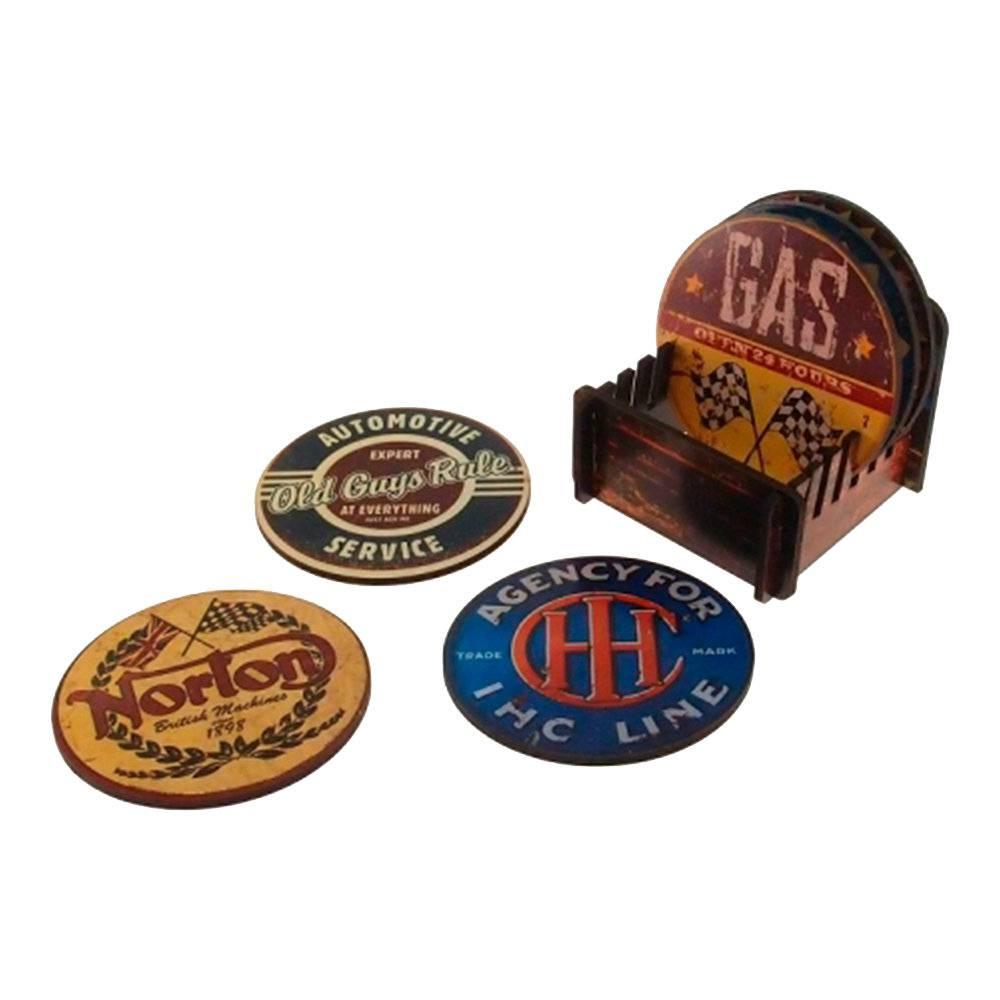 Porta-Copos Placas Redondos - 6 Peças - em MDF - com Suporte - 9x9 cm