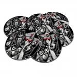Porta-Copos Rei e Damas Preto e Branco de Baralho - 6 Peças - em Cortiça - 9,7 cm