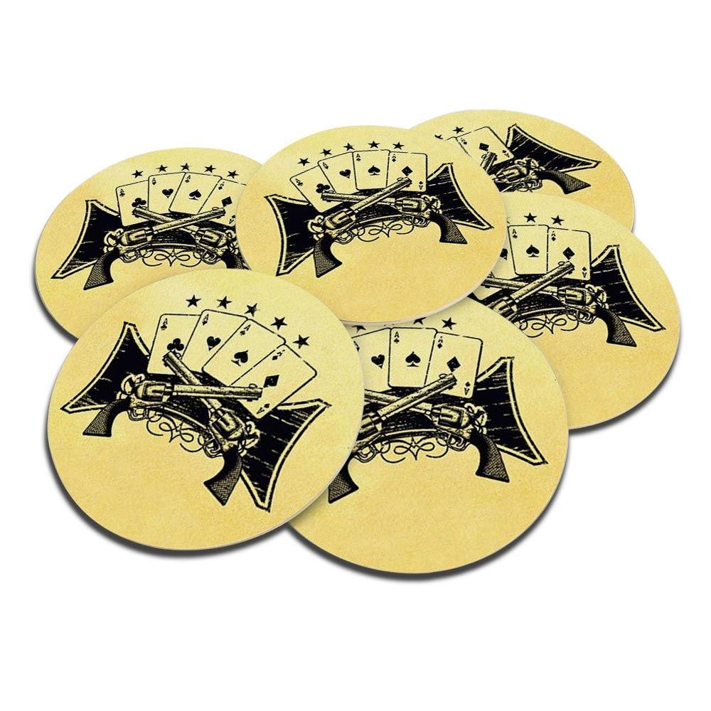Porta-Copos Revólveres e Cartas Preto/Bege - 6 Peças - em Cortiça - 9,7 cm