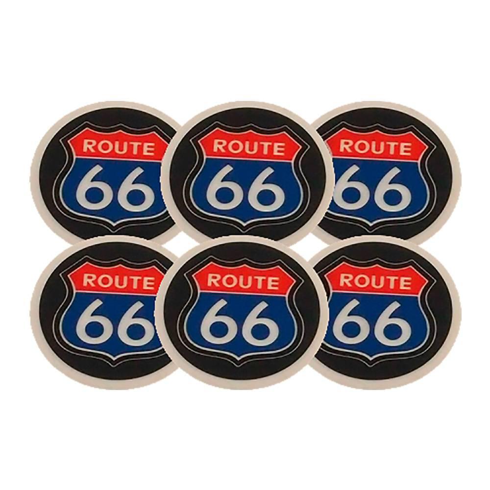 Porta-Copos Route 66 Azul Emborrachados - 6 Peças - 8x8 cm
