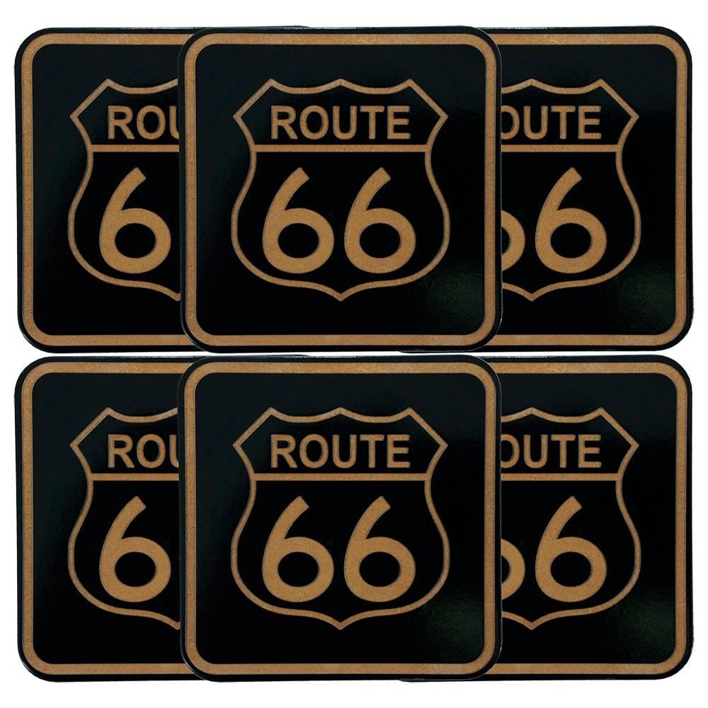 Porta-Copos Route 66 Pretos - 6 Peças - em MDF - 10x10 cm