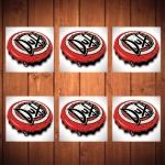 Porta-Copos Tampinha Duff Vermelho - 6 Peças - em Vidro - 8,5x8,5 cm