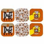 Porta-Copos The Simpsons - Duff Beer - 6 Peças - em MDF - 10x10 cm
