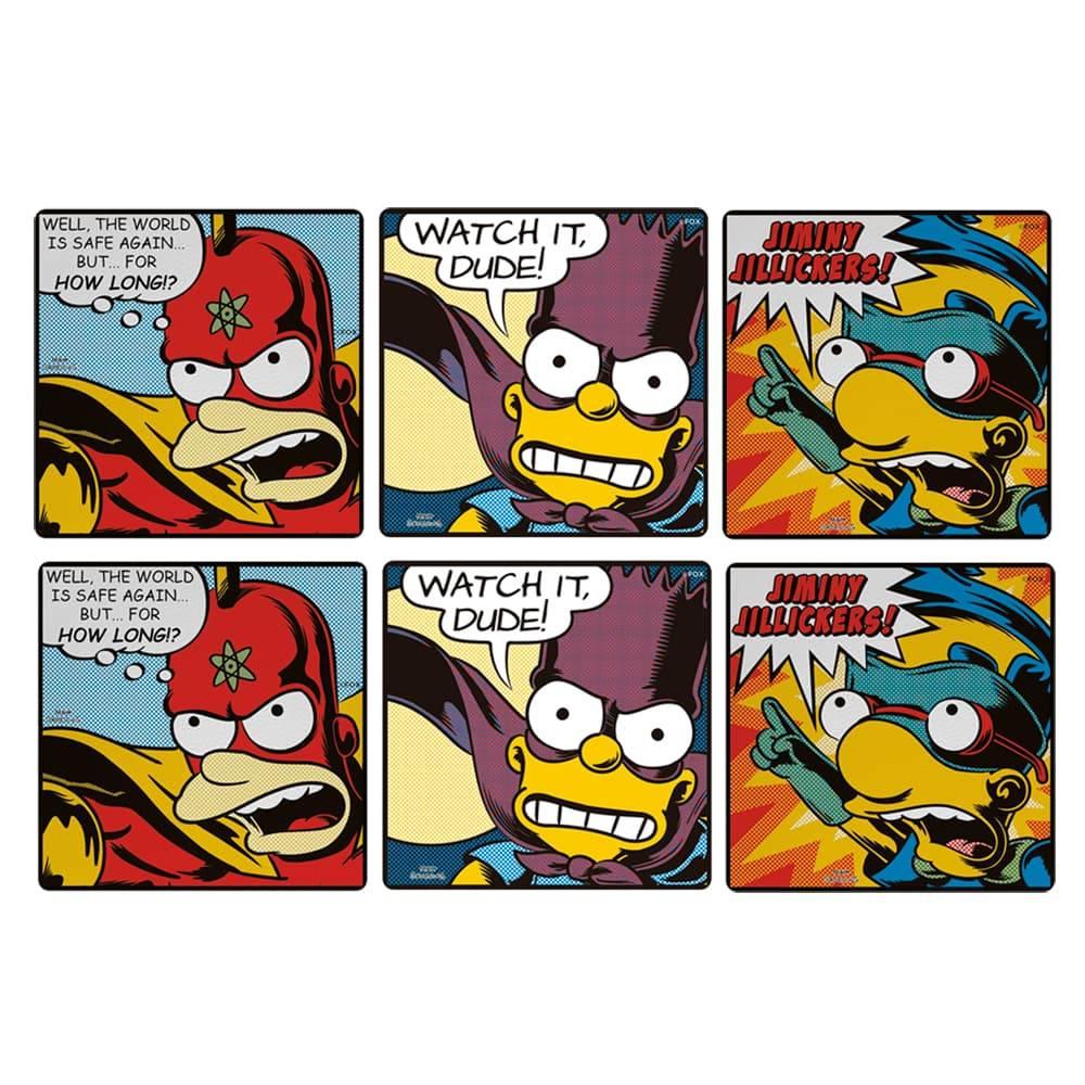Porta-Copos The Simpsons - Heróis de História em Quadrinhos - 6 Peças - em MDF - 10x10 cm