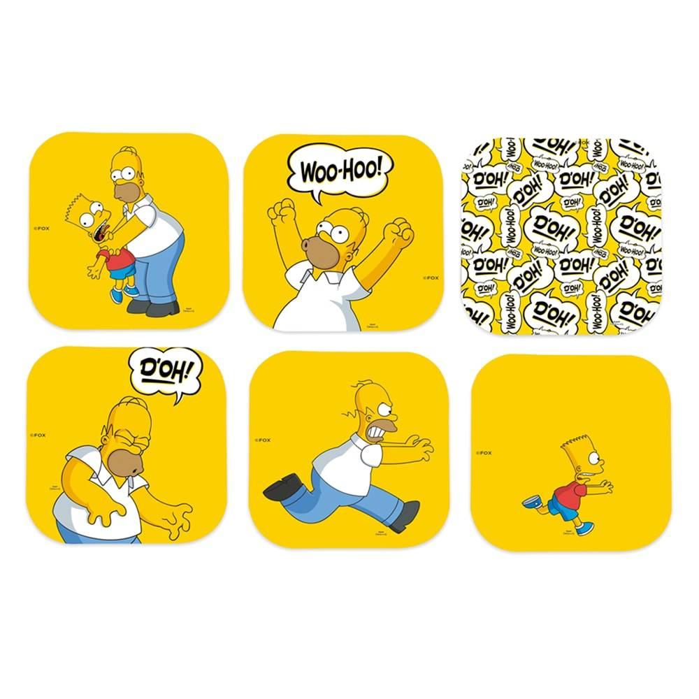 Porta-Copos The Simpsons - Homer - Fundo Amarelo - 6 Peças - em MDF - 10x10 cm