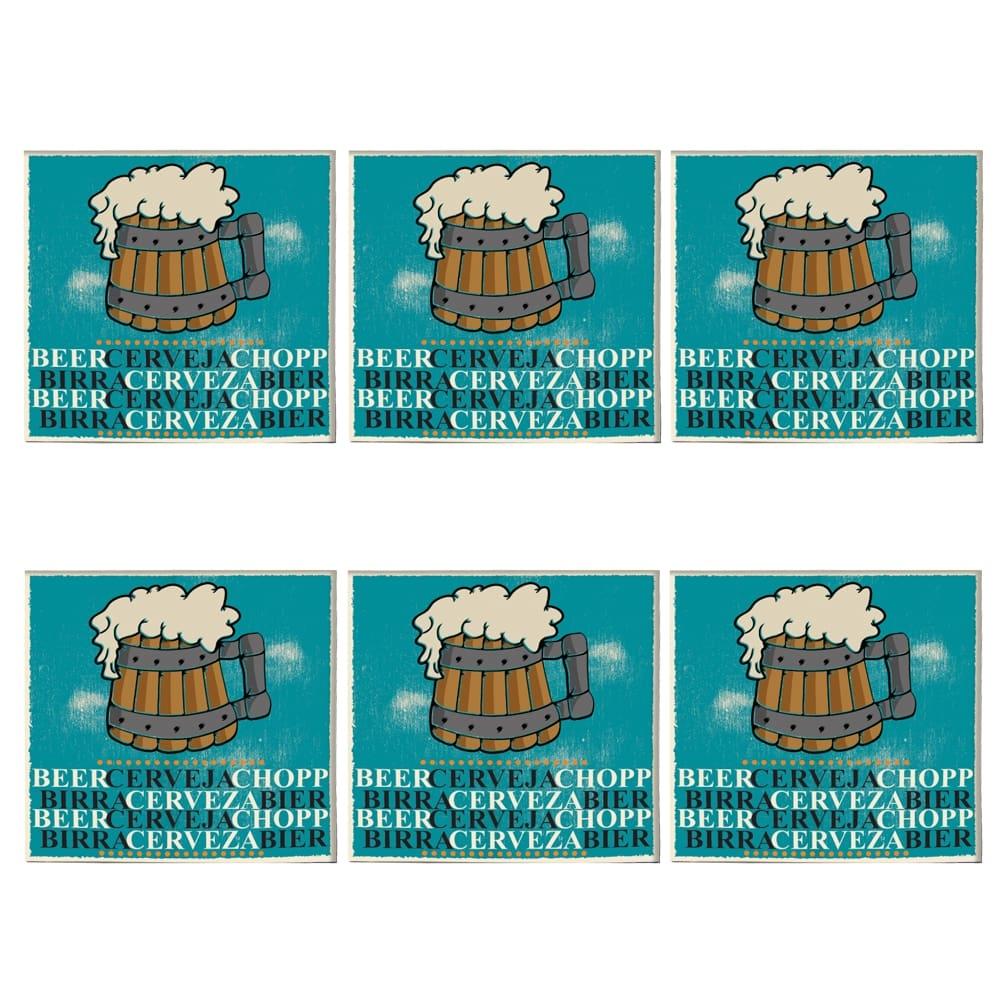 Porta-Copos Vintage Beer Azul - 6 Peças - em Vidro - 8,5x8,5 cm