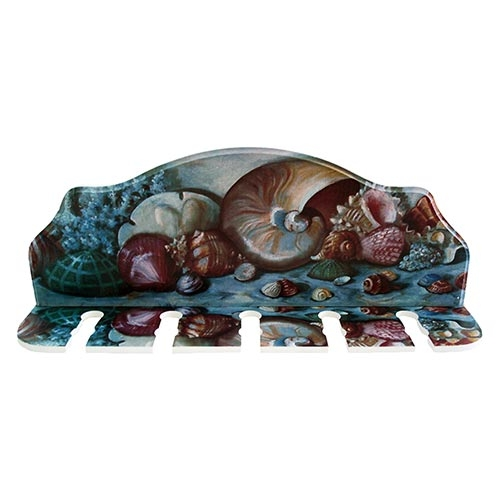 Porta-Espeto Conchas do Mar em Madeira - 40x15 cm