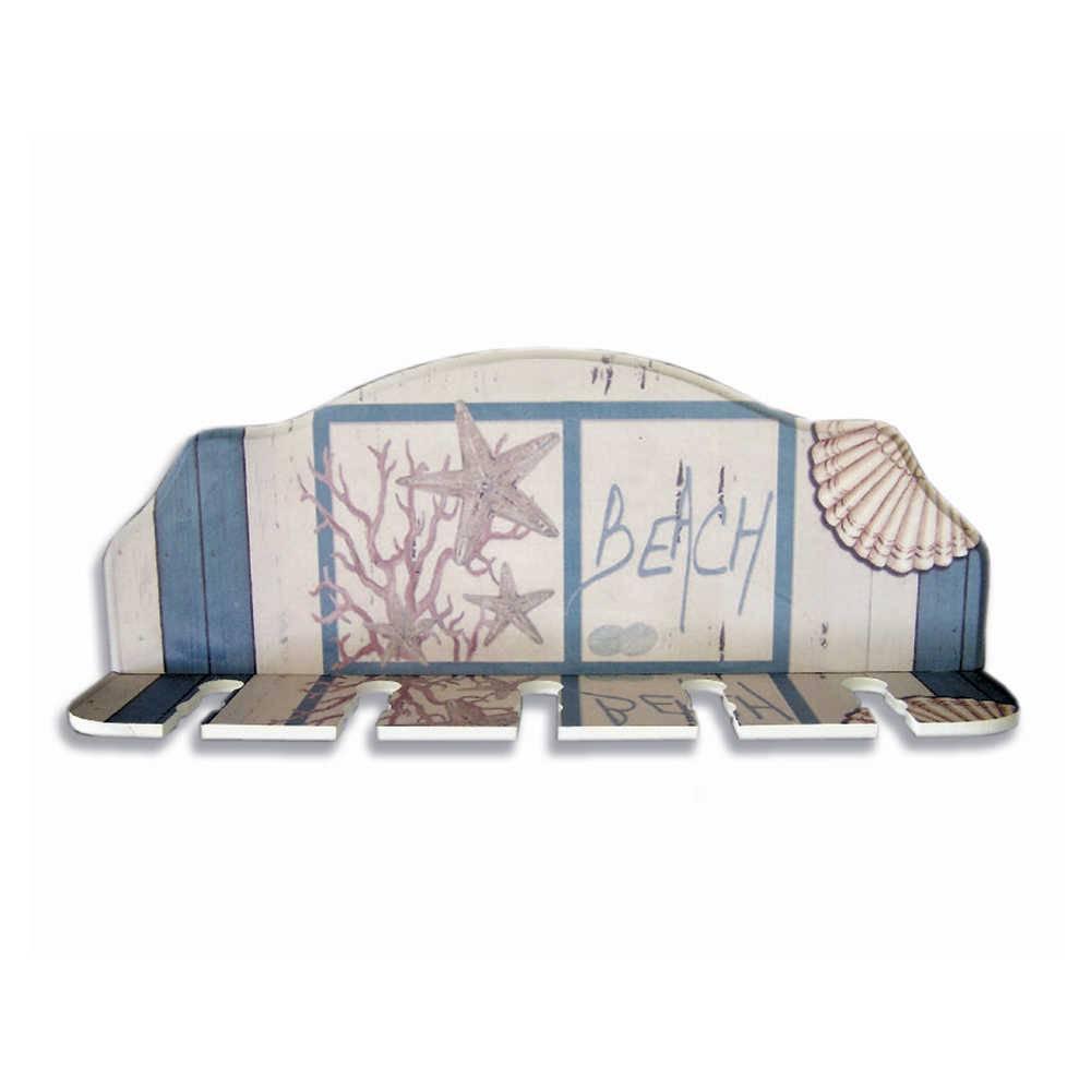Porta-Espeto Estampa Praia Azul e Branco em Madeira - 40x15 cm