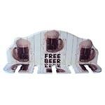 Porta-Espeto Free Beer Branco e Marrom em Madeira - 40x15 cm