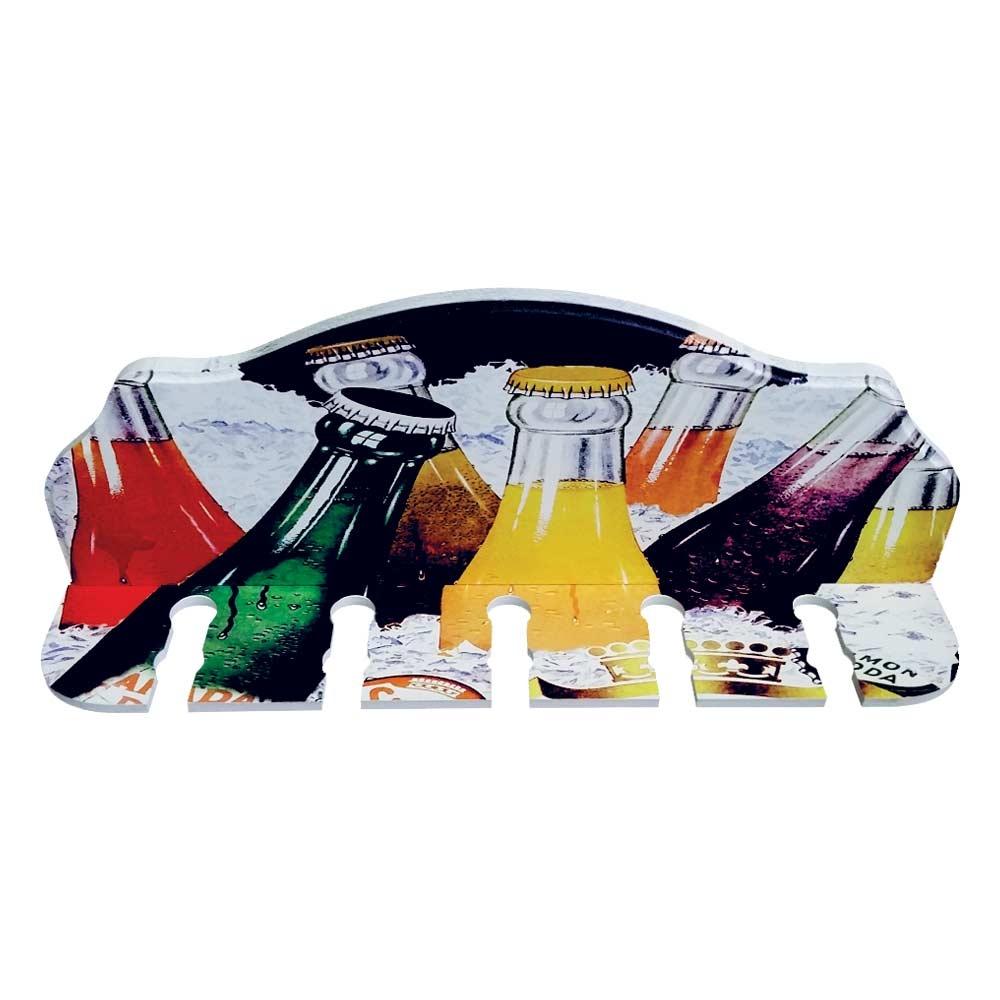 Porta-Espeto Garrafas Coloridas em Madeira - 40x15 cm
