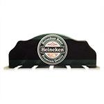 Porta-Espeto Cerveja Heineken Verde e Preto em Madeira - 40x15 cm