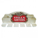 Porta-Espeto Logomarca Cerveja Stella Artois Vermelho em Madeira - 40x15 cm