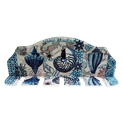 Porta-Espeto Mar Português Azul e Branco em Madeira - 40x15 cm