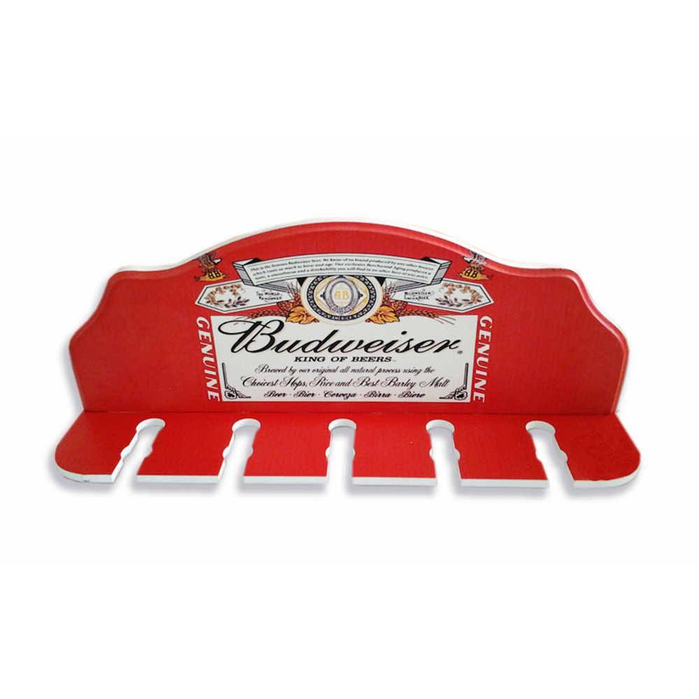 Porta-Espeto Rótulo Budweiser Fundo Vermelho em Madeira - 40x15 cm