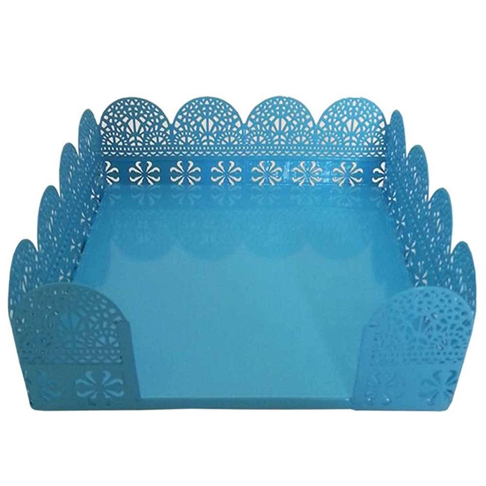 Porta-Guardanapo Fancy Laces Azul Medio em Metal - Urban - 16x16 cm