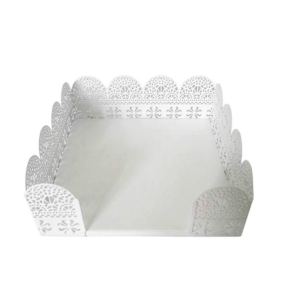 Porta-Guardanapo Fancy Laces Branco Grande em Metal - Urban - 19,8x19,8 cm