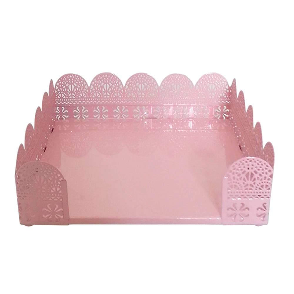 Porta-Guardanapo Fancy Laces Rosa Grande em Metal - Urban - 19,8x19,8 cm