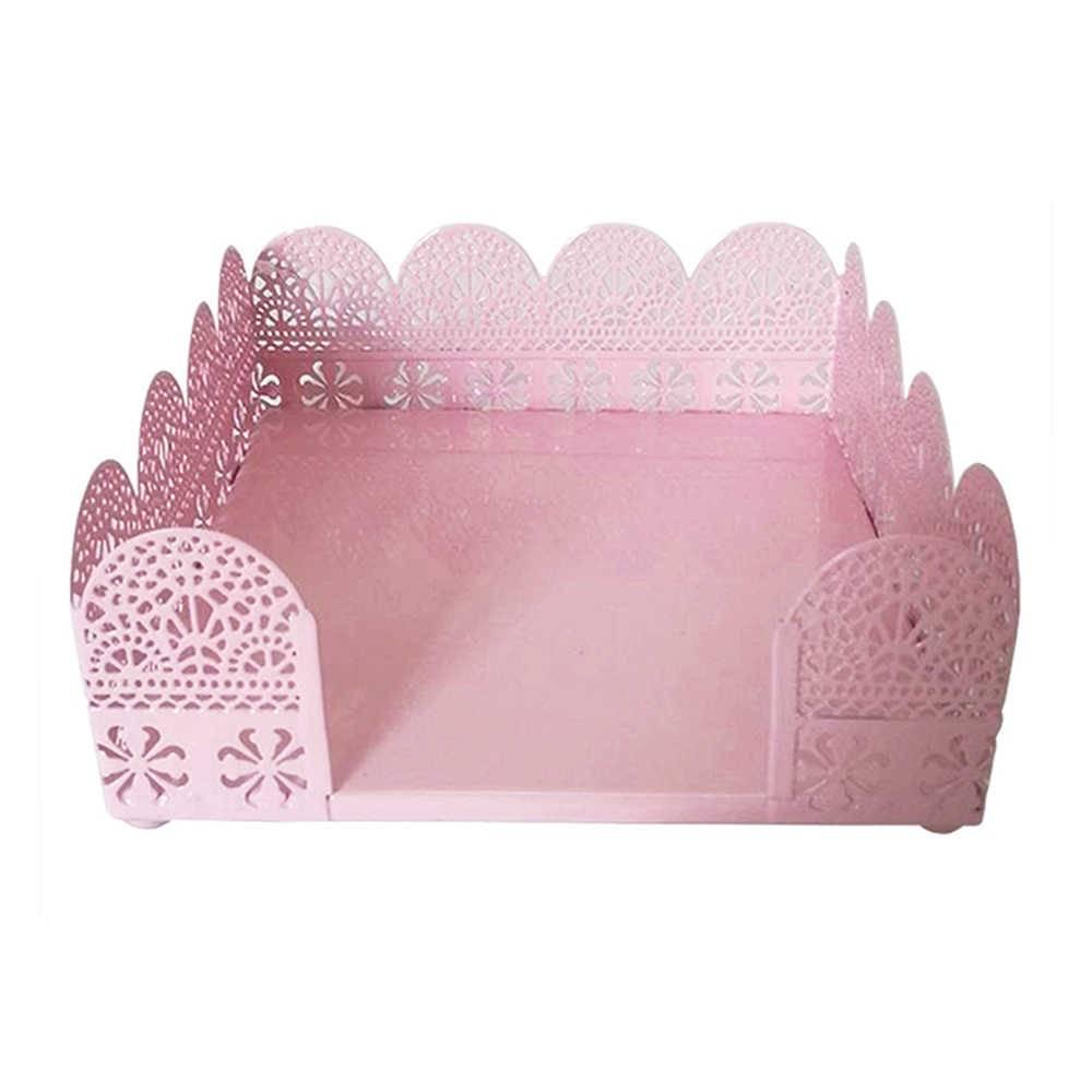 Porta-Guardanapo Fancy Laces Rosa Medio em Metal - Urban - 16x16 cm