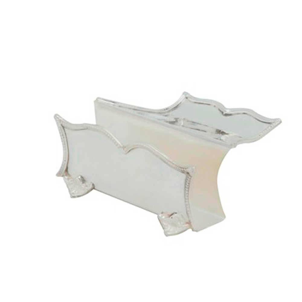 Porta-Guardanapo Prince em Metal com Banho de Prata - 13x12 cm