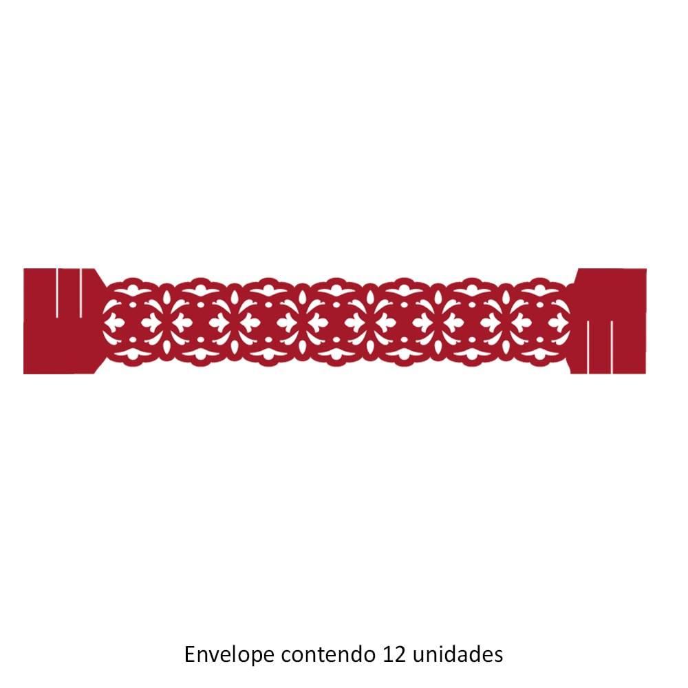 Porta-Guardanapos Liss Vermelho - 12 Unidades - em Papel Especial - 18x3 cm