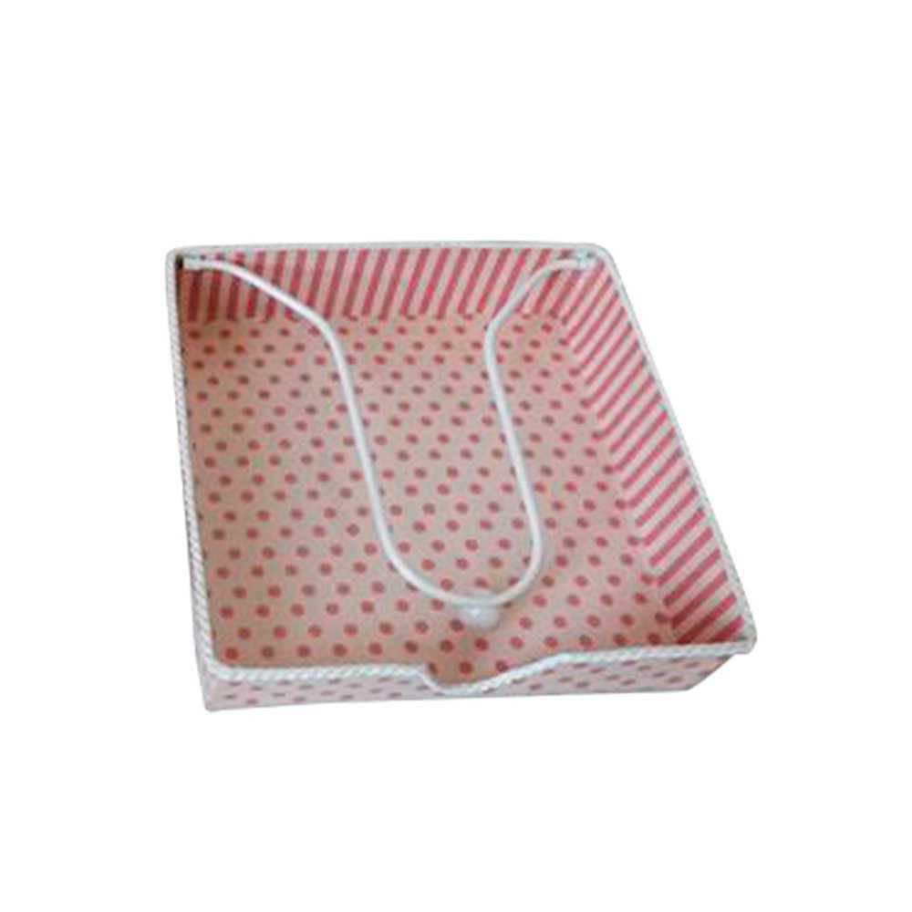 Porta-Guardanapos Romance Rosa em Metal - Urban - 17,5x17,5 cm