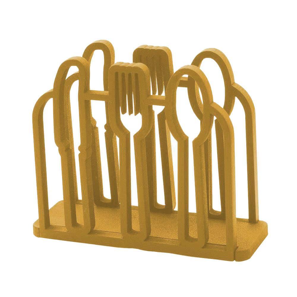 Porta-Guardanapos Talheres em MDF Laqueado Dourado - 13,4x12 cm