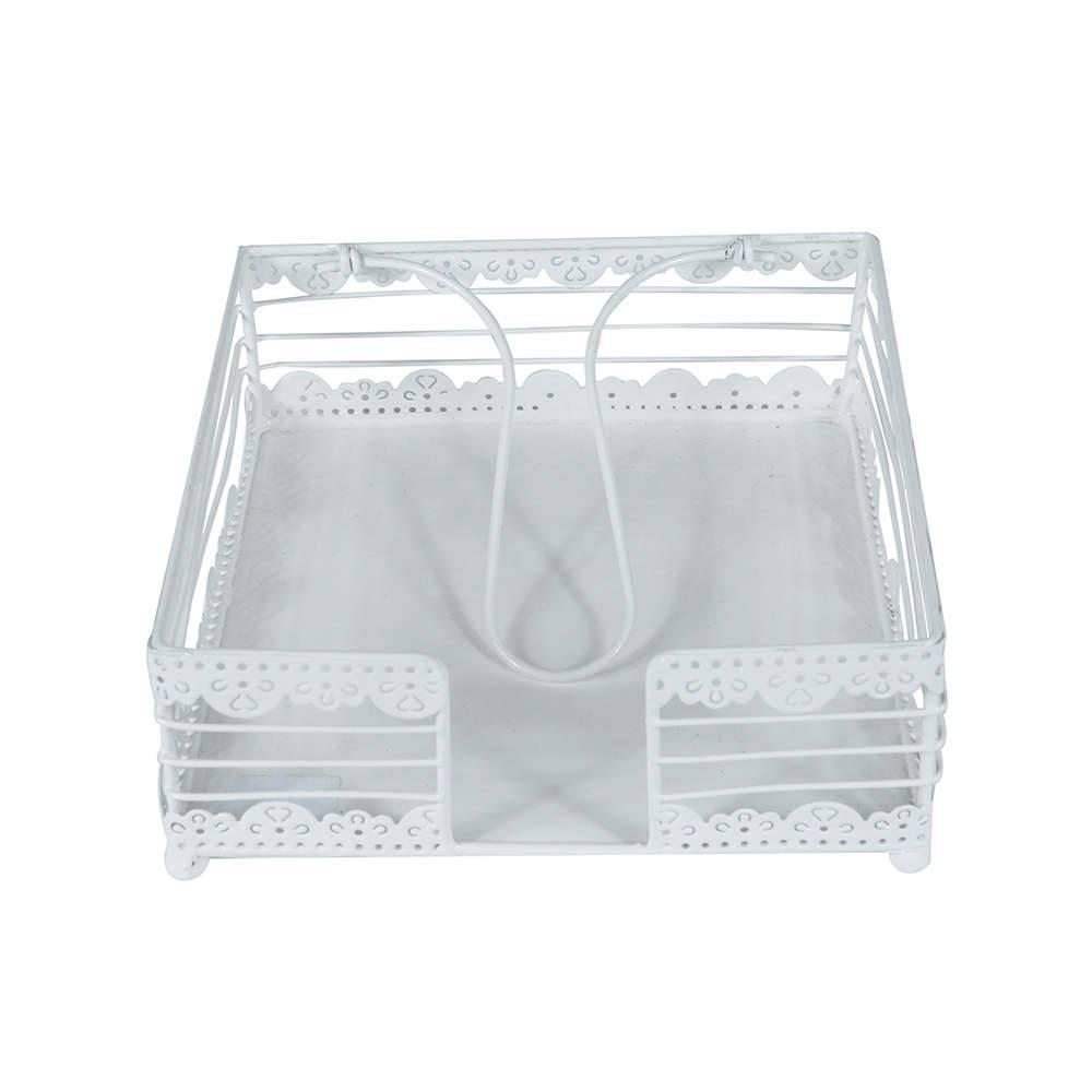 Porta-Guardanapos Tricot Branco em Metal - Urban - 19x8 cm