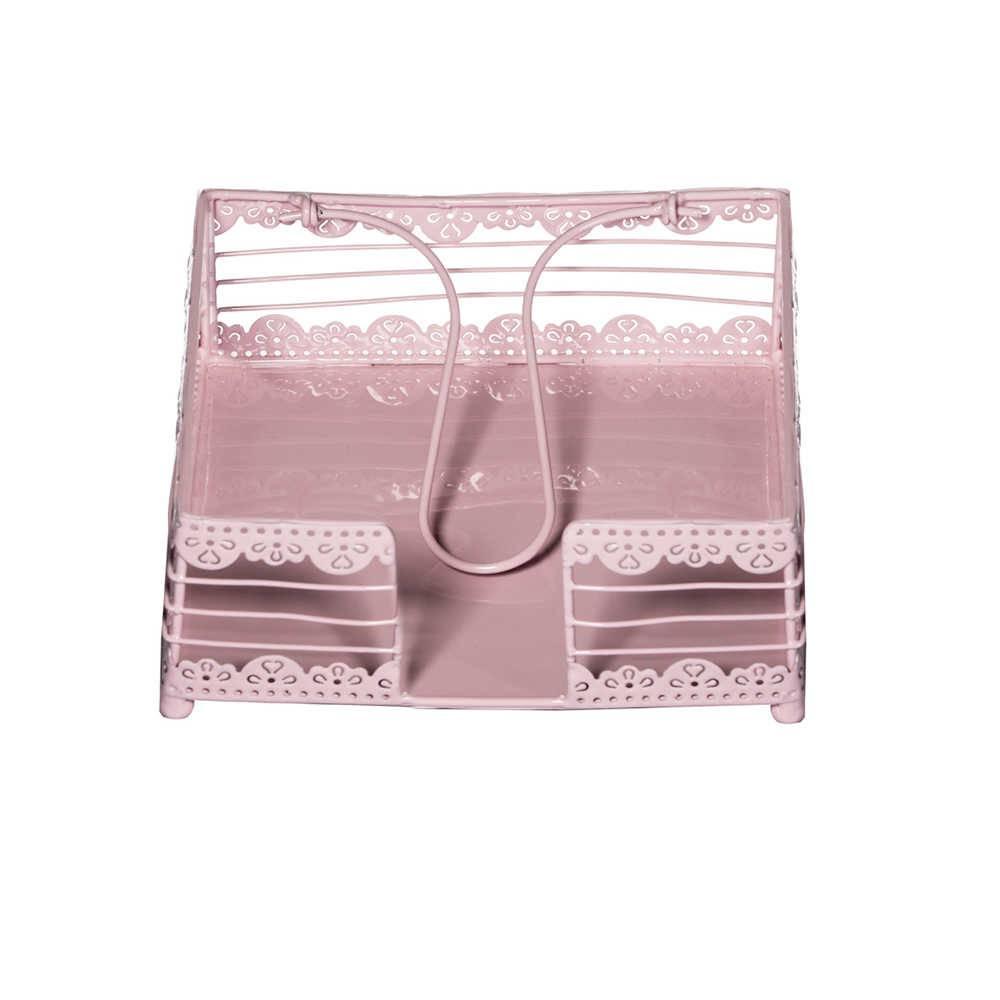 Porta-Guardanapos Tricot Rosa em Metal - Urban - 19x8 cm