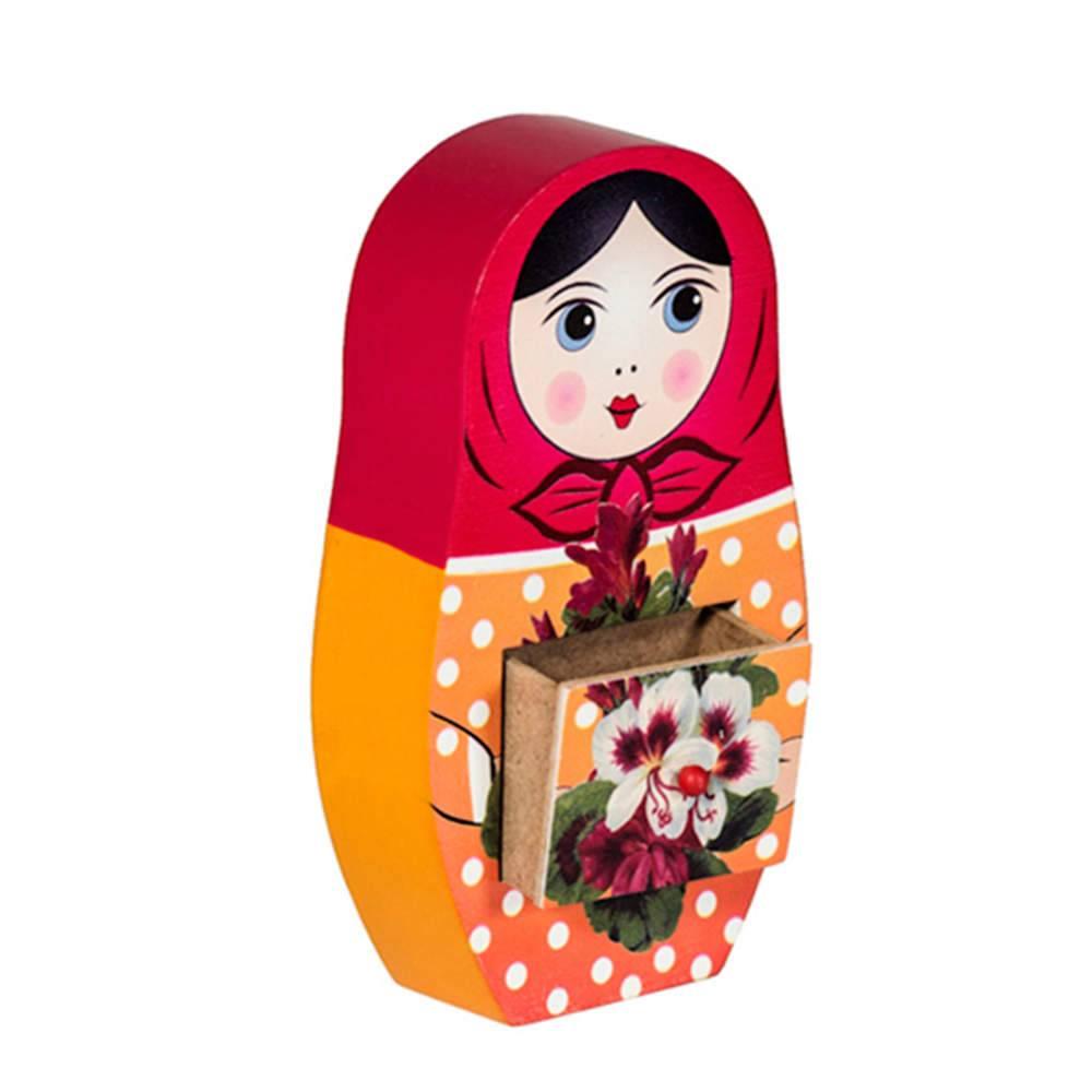 Porta-Joias 1 Gaveta Matrioska Pequeno Rosa e Laranja em Madeira - Urban - 16x8 cm