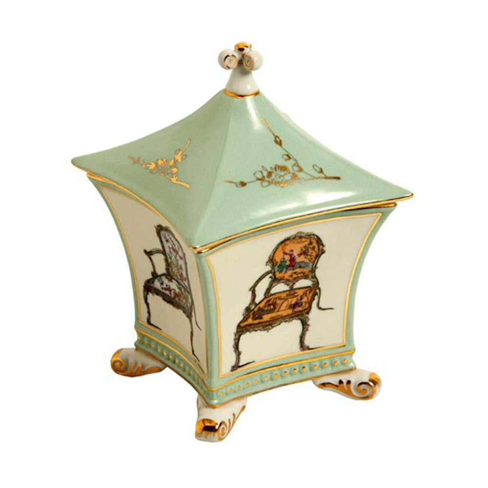 Porta-Joias Armchair Verde e Branco em Porcelana - 17x12 cm