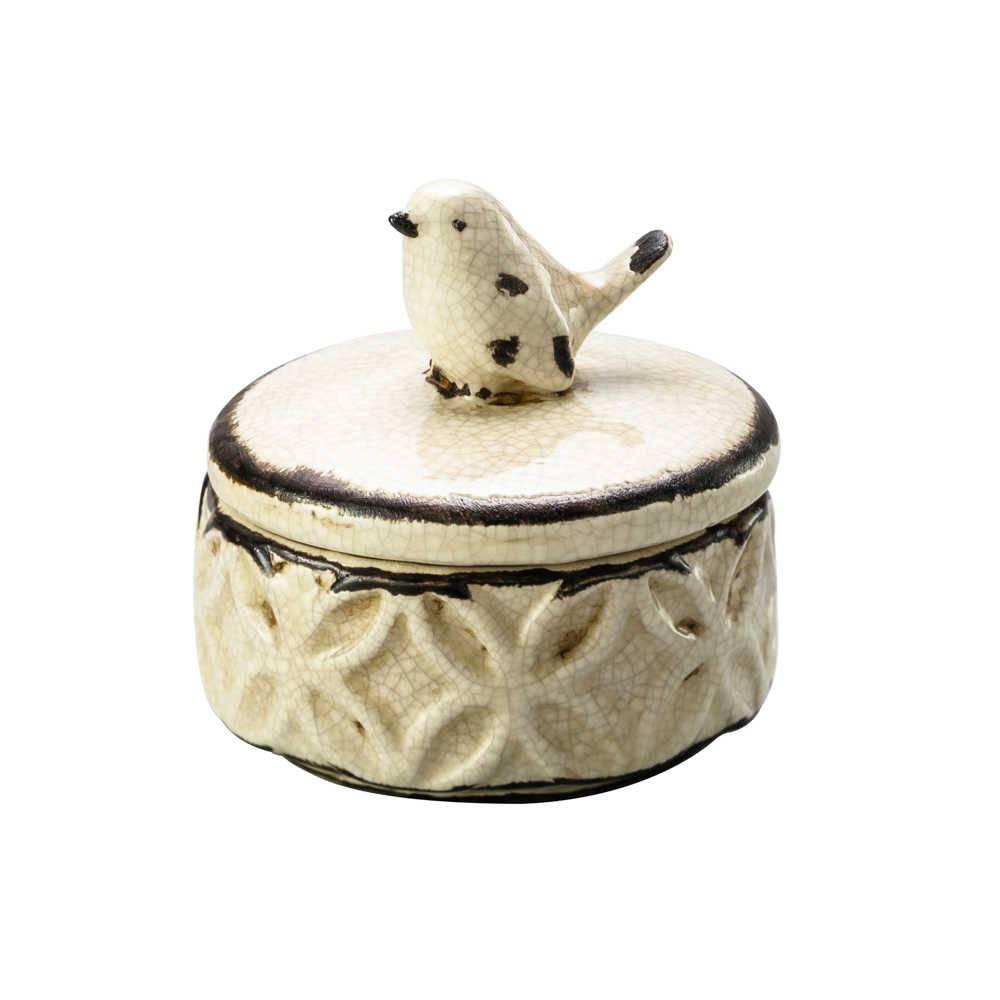 Porta-Joias Bird Antique em Cerâmica Tom Creme - Lyor Classic - 9,4x9,3 cm