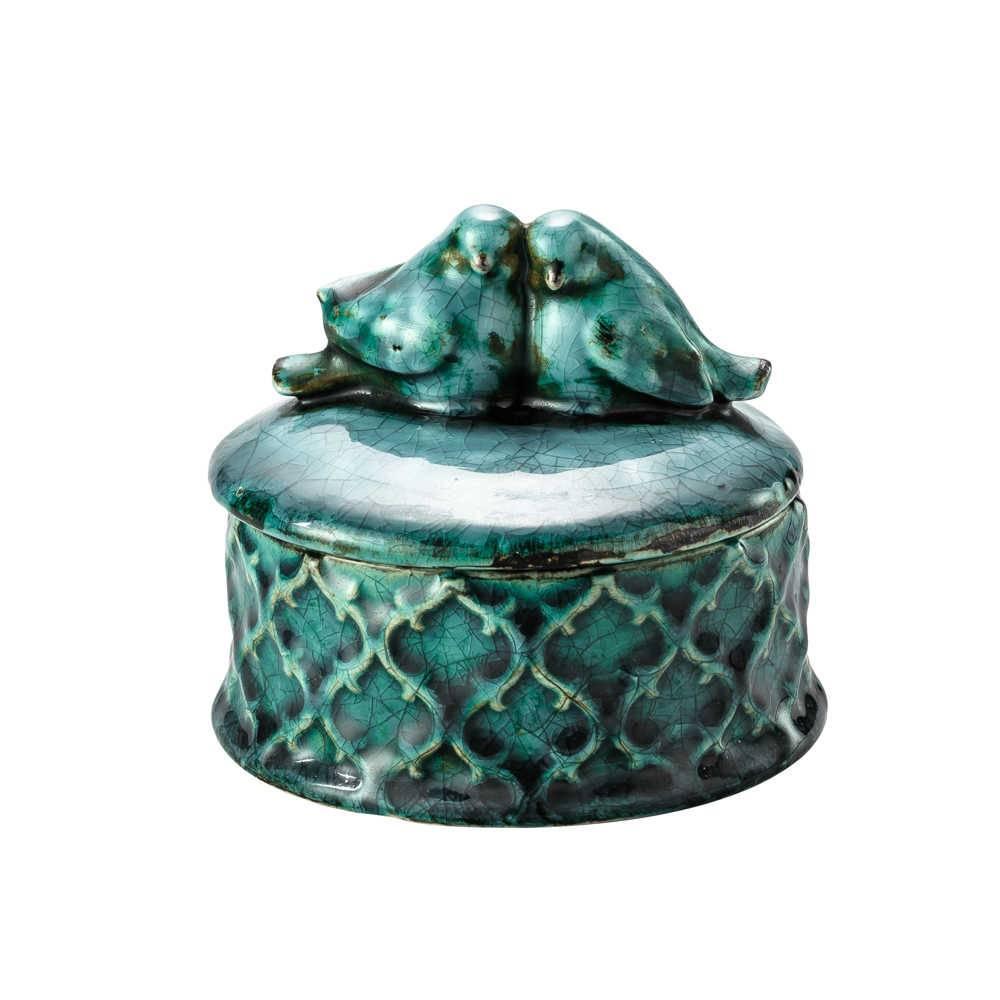 Porta-Joias Bird Azul em Cerâmica - Lyor Classic - 11x10,5 cm