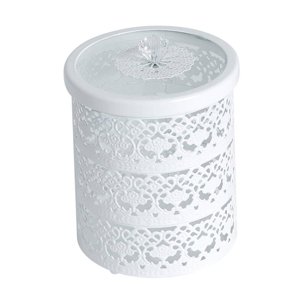 Porta-Joias Branco Vazado Grande em Ferro Fundido - Bon Gourmet - 16x12 cm
