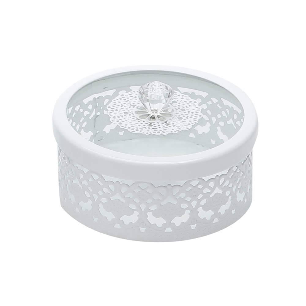 Porta-Joias Branco Vazado Pequeno em Ferro Fundido - Bon Gourmet - 12x8 cm