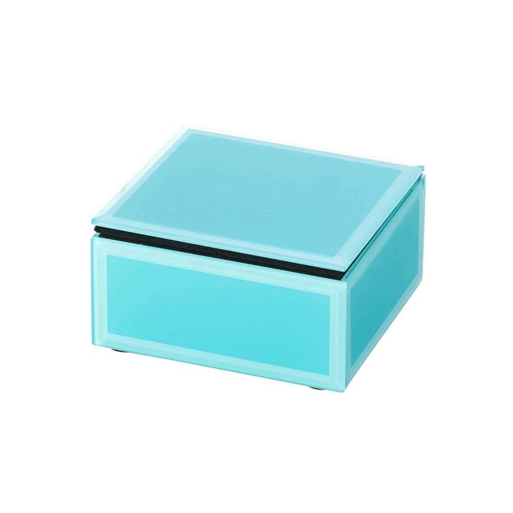 Porta-Joias Charme Turquesa em Vidro - Lyor Design - 10x9,5 cm