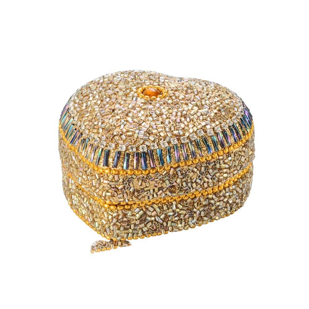 Porta-Joias Coração Dourado em Alumínio com Acabamento em Vidro - Lyor Classic - 7 cm