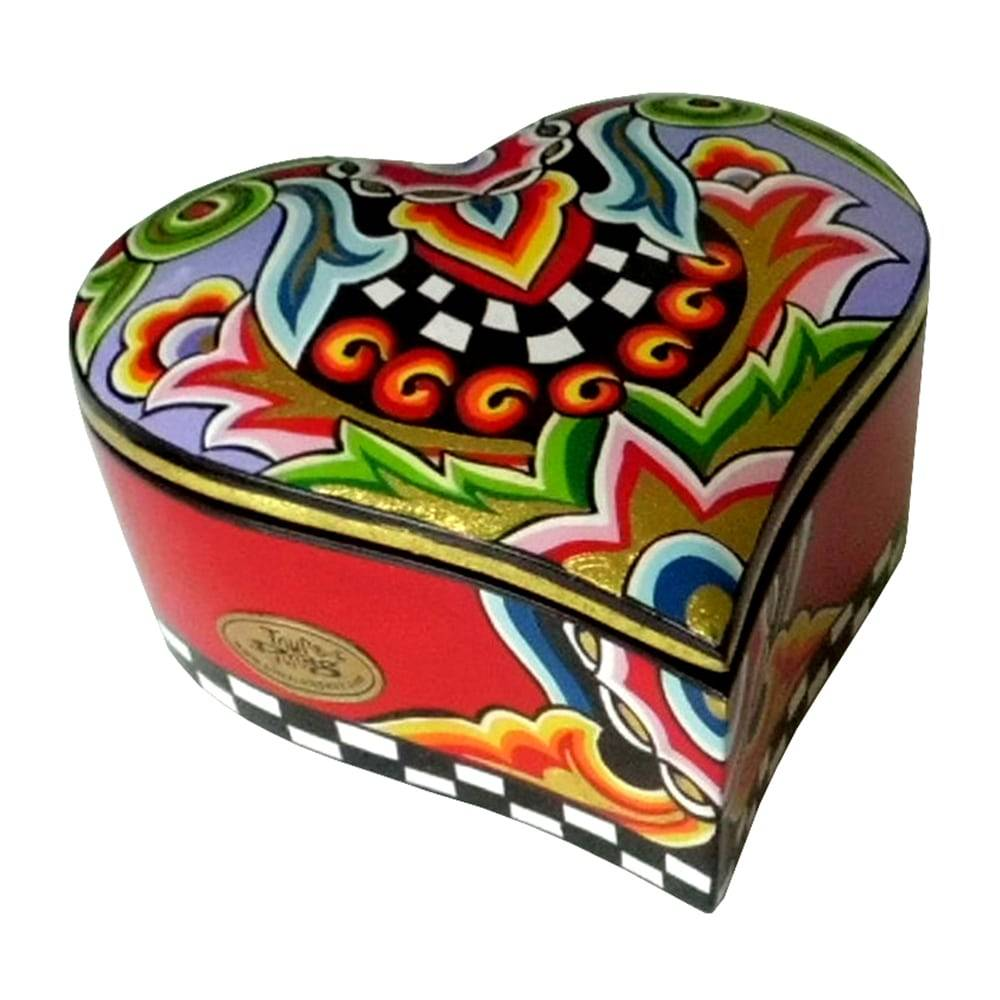 Porta-Joias Coração Médio Multicolorido em Cerâmica - 15x14 cm