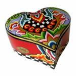 Porta-Joias Coração Médio Multicolorido em Cerâmica