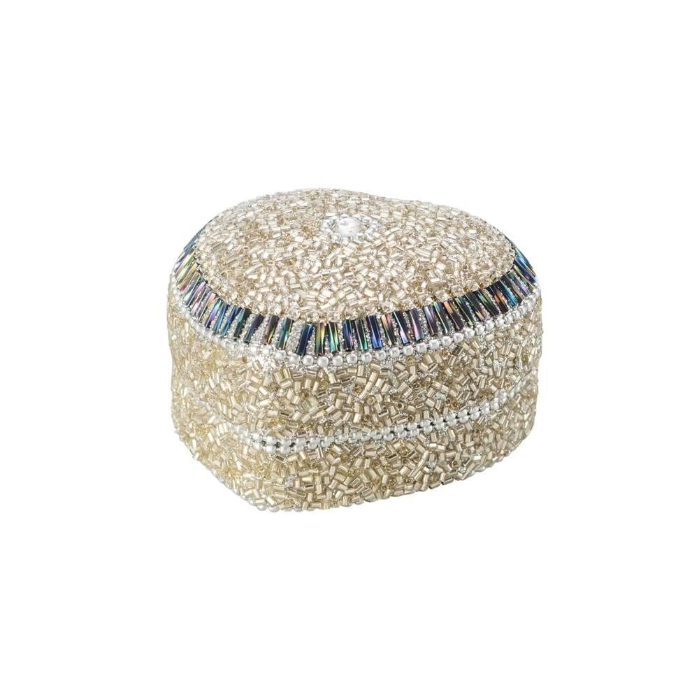 Porta-Joias Coração Prateado em Alumínio com Acabamento em Vidro - Lyor Classic - 7 cm