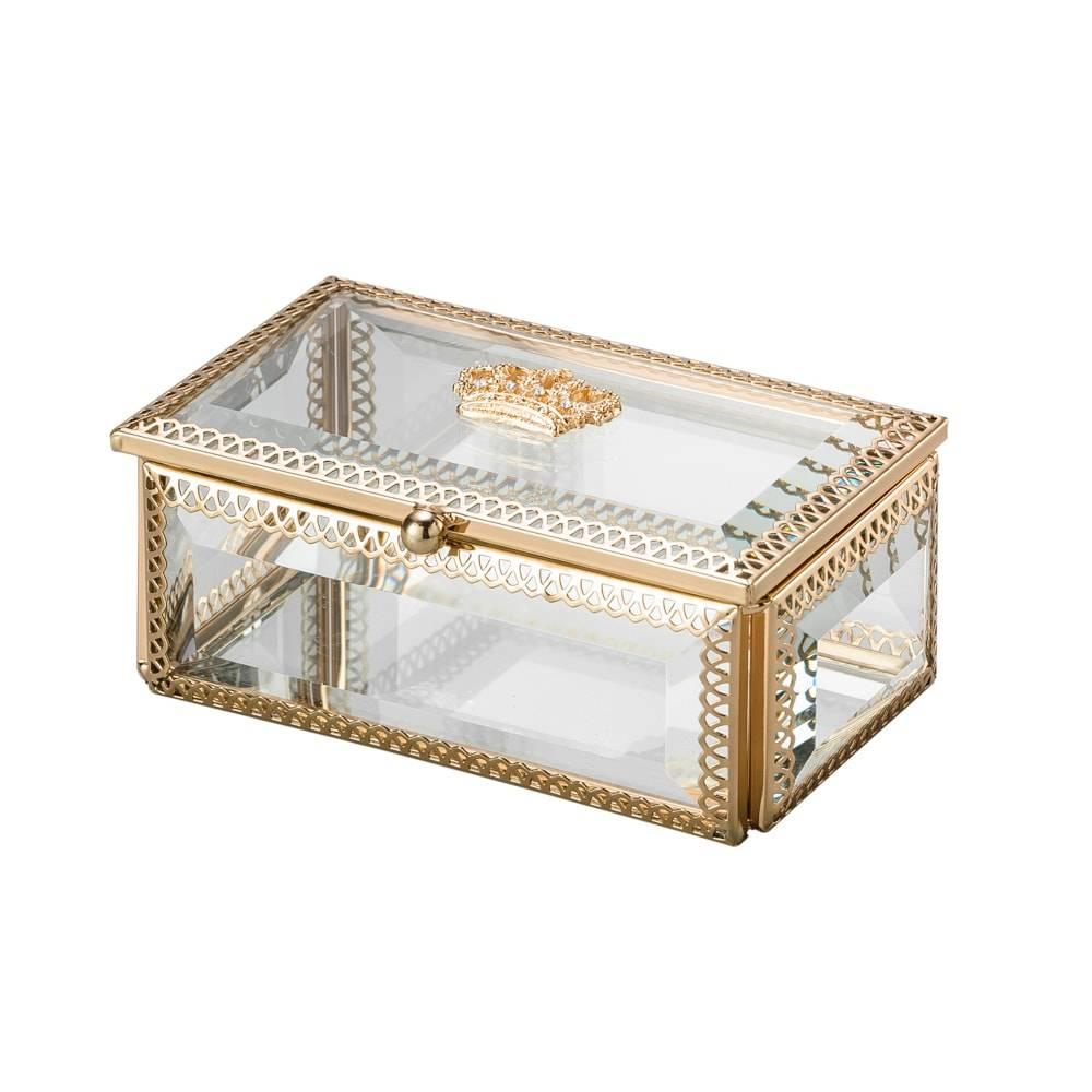 Porta-Joias Coroa Dourado em Vidro e Armação em Zamac - 12,5x7,5 cm