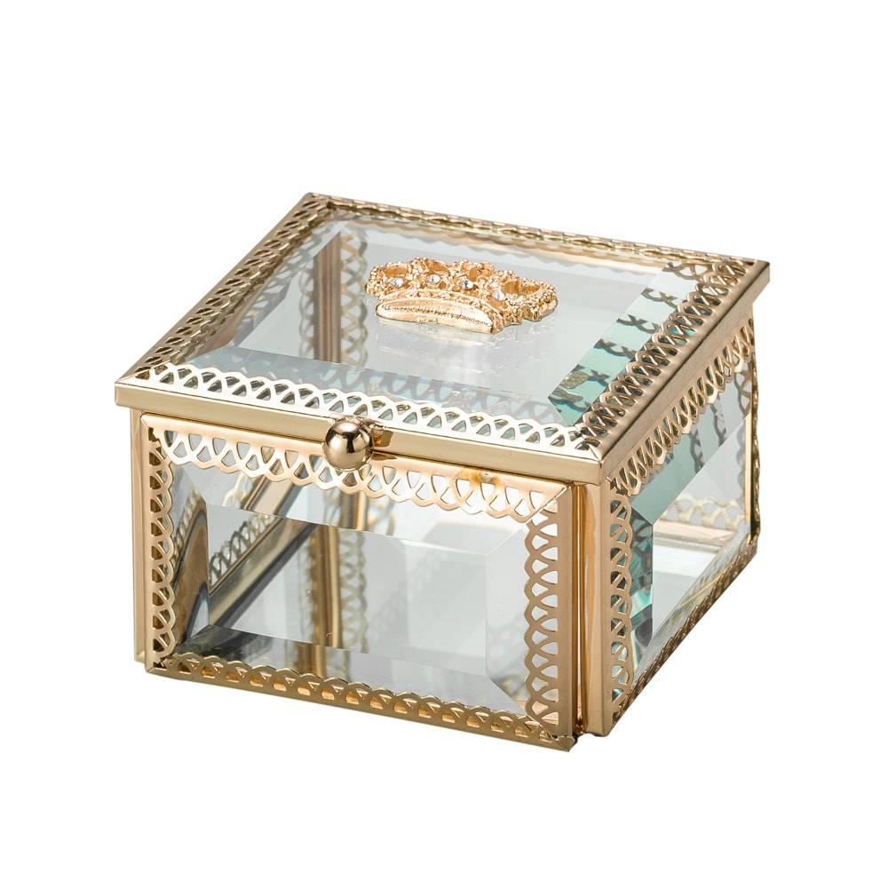 Porta-Joias Coroa Dourado em Vidro e Armação em Zamac - Lyor Classic - 8x8 cm