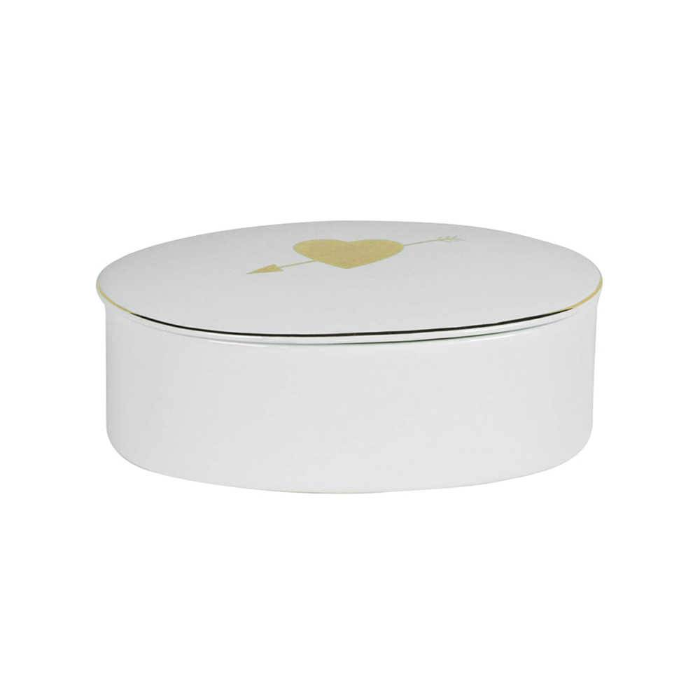 Porta-Joias Cupid Hart Oval Grande Branco e Dourado em Cerâmica - Urban - 13,5x8,5 cm
