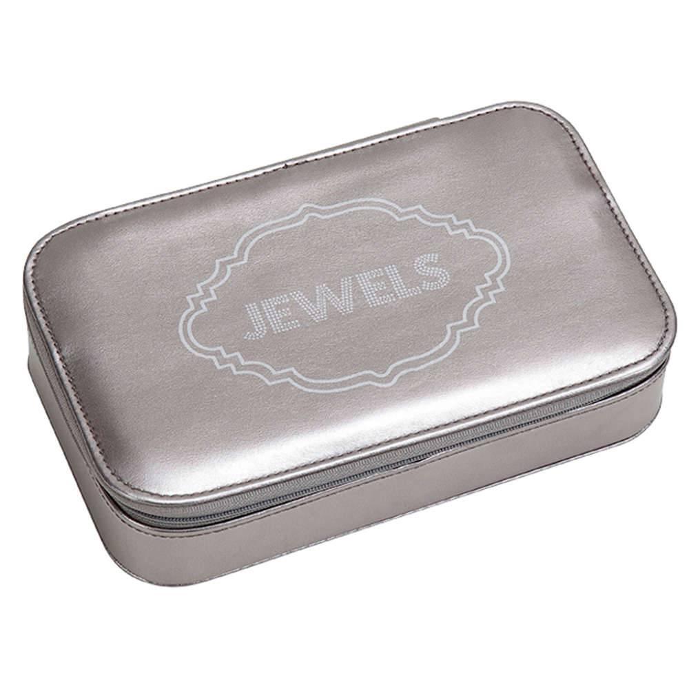 Porta-Joias Jewels Prata Metalic Médio em PU - Urban - 21x13 cm