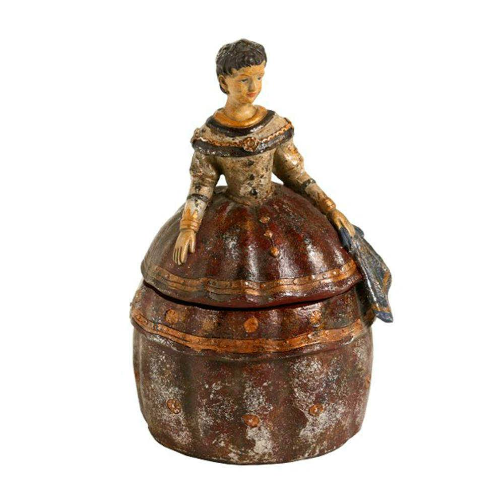Porta-Joias Lady a Francesa Colorido em Resina - 30x18 cm