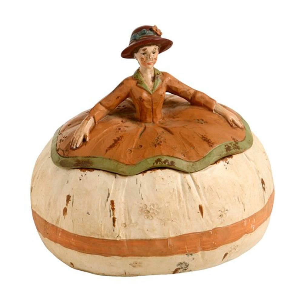 Porta-Joias Lady a Francesa Marrom em Resina - 20x16 cm