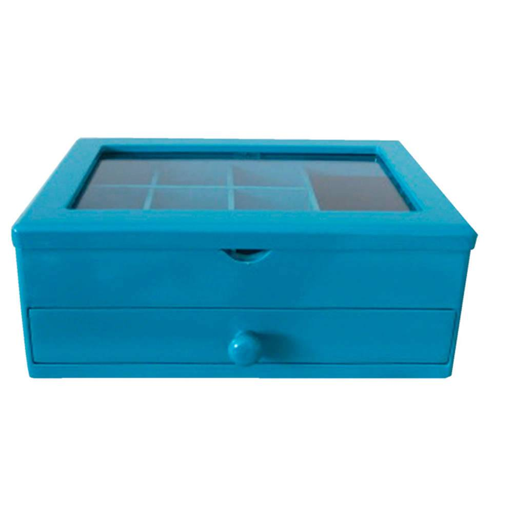 Porta-Joias Luxury 2 Gavetas Azul em MDF - Urban - 22,1x16,8 cm