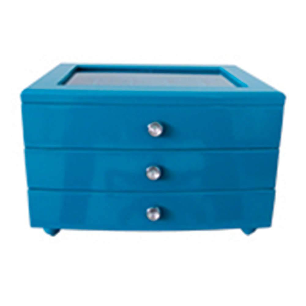Porta-Joias Luxury 3 Gavetas Azul em MDF - Urban - 25,2x19,5 cm