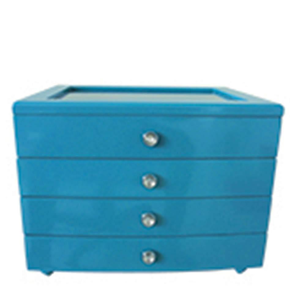 Porta-Joias Luxury 4 Gavetas Azul em MDF - Urban - 27x21,8 cm